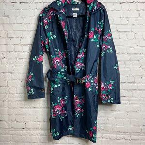Navy Floral Trench Raincoat Jacket Capelli Medium
